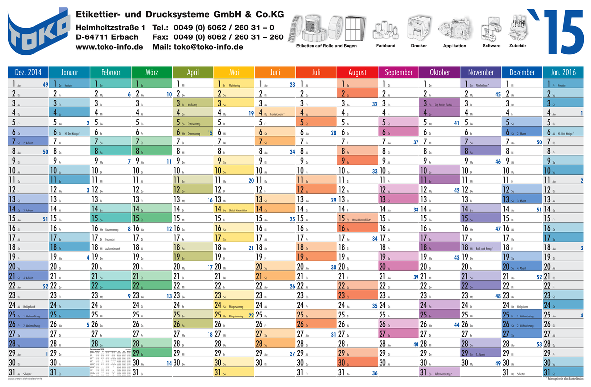 for envelopes year planner with 14 columns of months for 2015 foldet ...