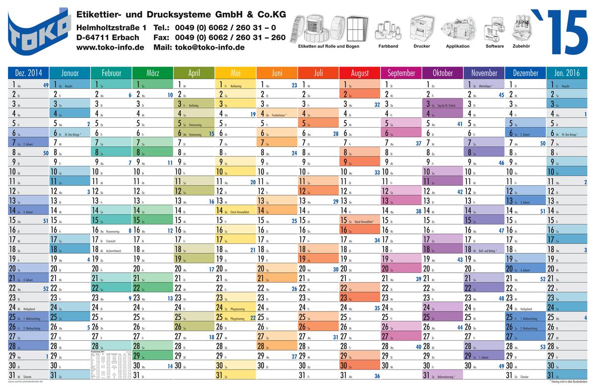 Year Planner Calendar : Year planners from calendar production ebertin