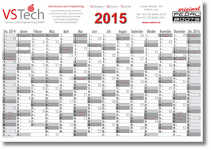 year planner with 14 columns of months for 2015